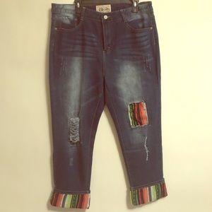 Lucky & Blessed Distressed Serape Boyfriend Jeans